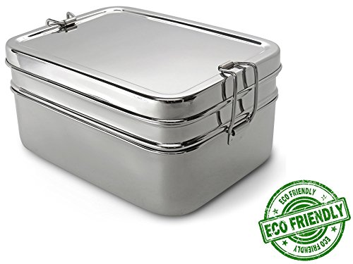 Lifestyle Block Stainless Lunch Box - Steel Eco-Friendly 3 Compartment Lunch Set - Large Adult Size The Only Lunchbox You Will Ever Need