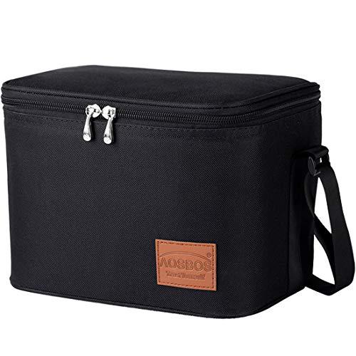 Aosbos Insulated Lunch Box Bag Cooler Reusable Tote Bag Women Men 75L Black