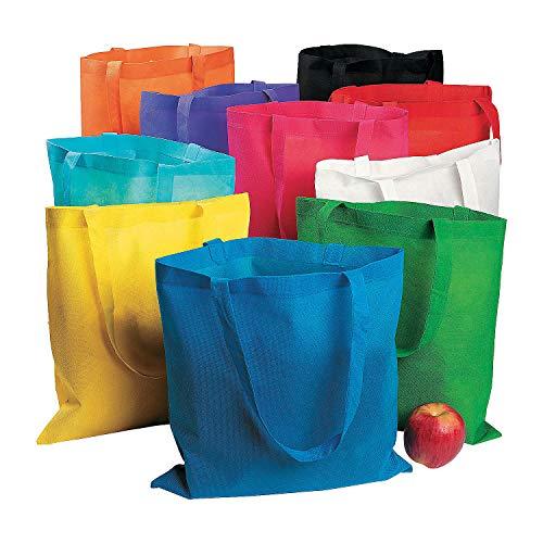 Large Reusable Tote Bag Assortment Bulk Set of 50 Non-Woven Bags - Bright Colors