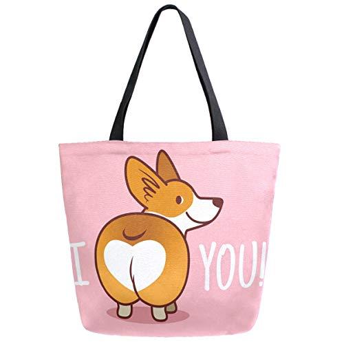 ZzWwR Cute Cartoon Welsh Corgi Dog Butt Heart Extra Large Canvas Market Beach Travel Reusable Grocery Shopping Tote Bag Portable Storage HandBagsPink