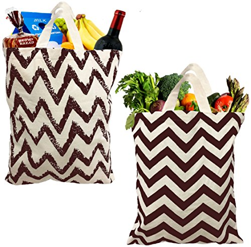 TreeWool Pack of 2 100 Cotton Eco Friendly Large Reusable Shopping Bags in Chevron Designs Brown