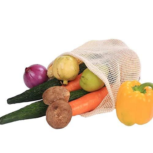 Redsa 9 Pcs Reusable Produce Bags Cotton Vegetable Bags Mesh Grocery Bags Cotton Produce Bags Drawstring for Fruit Veggies Fridge Organizing Toys Books