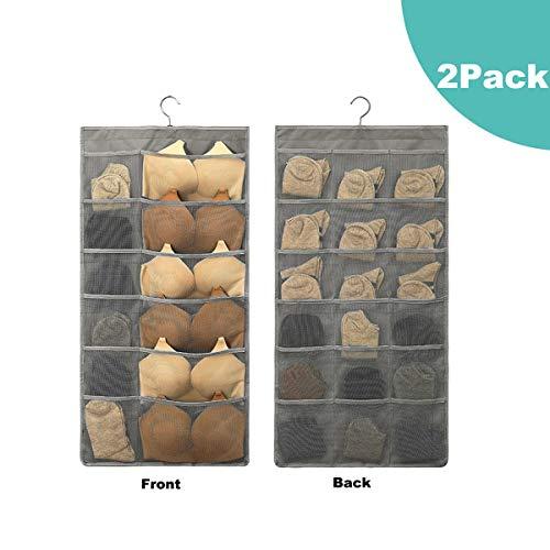 2 Pack Closet Hanging Organizer with 30 Mesh Pockets Rotating Metal HangerDual Sided Wall Shelf Wardrobe Storage BagsOxford Cloth Space Saver Bag for Bra Underwear Underpants Socks by HIN