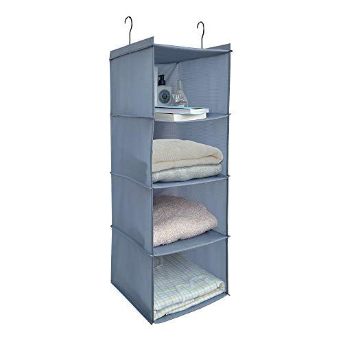 Aibrisk 4 Shelves Hanging Closet Organizer Collapsible Hanging Closet Shelves Storage Organizer Oxford Cloth Gray