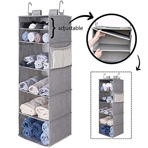StorageWorks 6-Shelf Adjustable Hanging Closet Organizer Multifunctional Closet Hanging Shelves Polyester Canvas Gray 425H x 15W x 13D