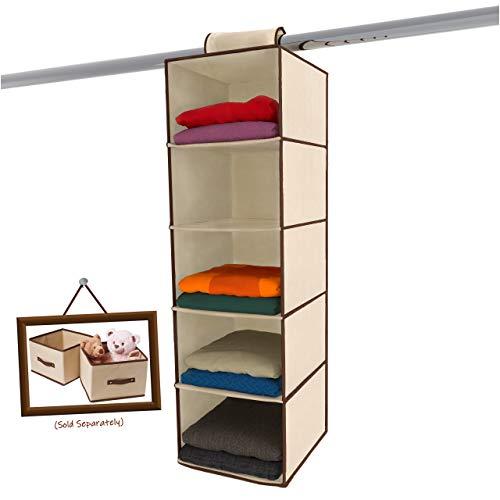 Ziz Home Hanging Closet Organizer  5 Shelf Beige  Closet Hanging Organizer  Closet Organizer Hanging Shelves  Sweater Hanging Organizer  Hanging Clothes Storage Box Hanging Shelf Closet Organizer