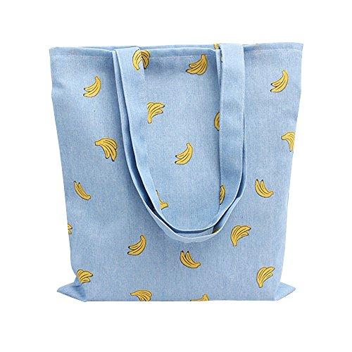Caixia Womens Cotton Banana Print Blue Canvas Tote Shopping Bag