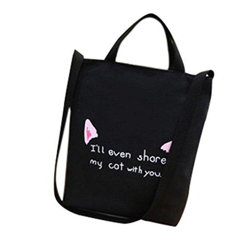 Leegor Letters Printed Canvas Tote Shopping Bags Large Capacity Shoulder Bag black