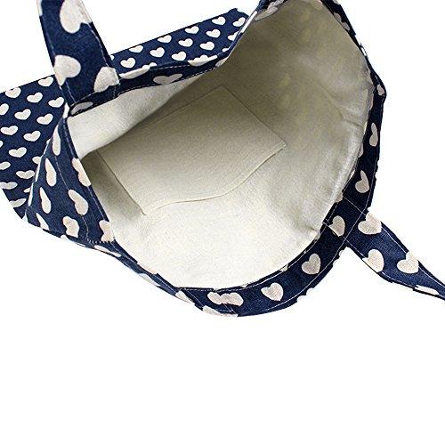 Oath_song Womens Cute Heart Pattern Canvas Tote Shopping Bag blue-open