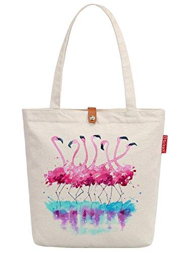 Soeach Womens Animal Flamingo Art Graphic Top Handle Canvas Tote Shopping Bag