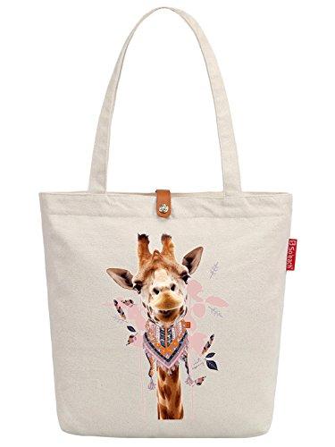 Soeach Womens Cute Animal Giraffe Graphic Top Handle Canvas Tote Shopping Bag