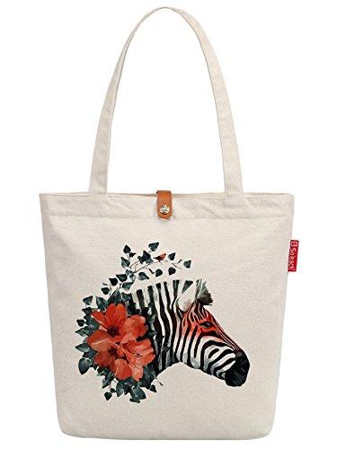 Soeach Womens Cute Flower Zebra Graphic Top Handle Canvas Tote Shopping Bag