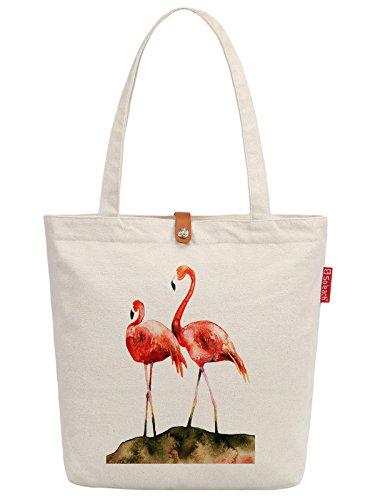 Soeach Womens Flamingos Art Paniting Top Handle Canvas Tote Shopping Bag