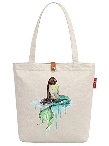 Soeach Womens Mermaid Art Pattern Graphic Top Handle Canvas Tote Shopping Bag