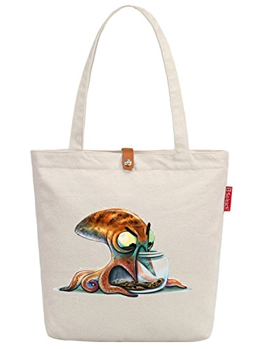 Soeach Womens Octopus Art Pattern Graphic Top Handle Canvas Tote Shopping Bag