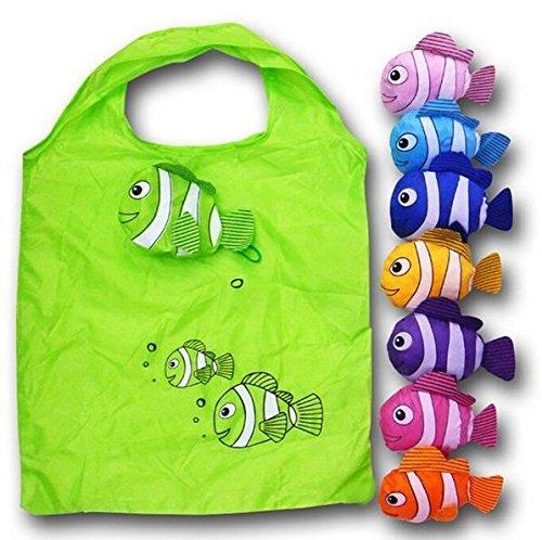 Anseahawk 10pcs Fish Shopping Bags Colorful Foldable Bag Handle Bag Bags Reusable Eco Tote Bags Rndom Color Sent