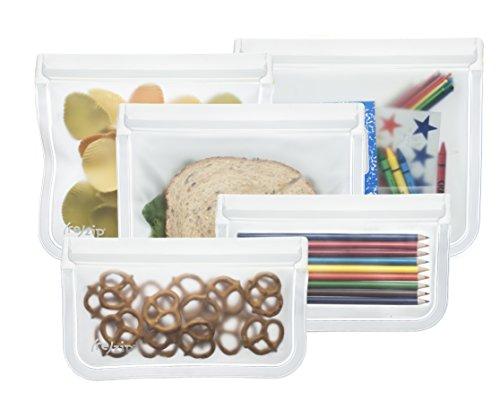 BlueAvocado Re-Zip Seal Reusable Storage Bag Kit Pack of 5