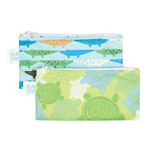 Bumkins Reusable Snack Bag Small 2 Pack Crocs Turtle B2