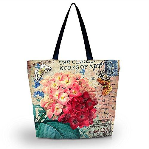 ICOLOR Beautiful Flower Large Reusable Eco-friendly Shopping Bag Handle case Bag School Shopping Large Grocery shoulder bag Reusable Portable Storage HandBags Convenient Shoppers Tote YGWB-41