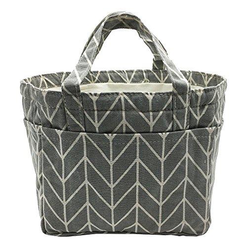 Insulated Lunch Bag Reusable Sling Shoulder Lunch Tote Travel Picnic Drawstring Bento Cooler Bag Front Pocket and 2 Side Pockets Grey Arrows