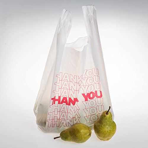 TashiBox Thank You Bags Reusable Grocery Bags - Measures 115 X 625 X 21 15mic 06 Mil - 308 Count