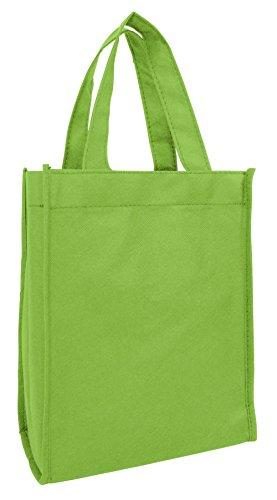 Set of 12- Small Gift Tote Bag Book Bag Bulk Non Woven Bag Multipurpose Art Craft Screen Print School Bag Lime