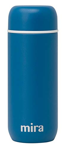 Mira 7 oz Insulated Small Thermos Flask  Kids Vacuum Insulated Water Bottle  Leak Proof Spill Proof  Blue Denim