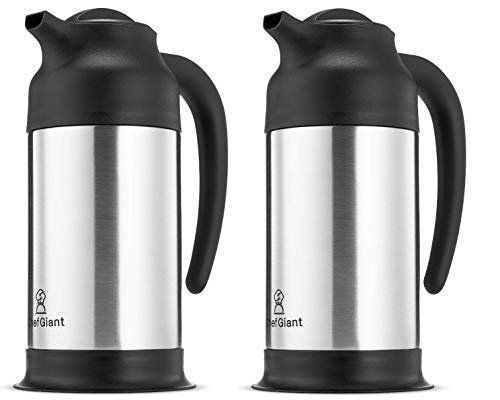 ChefGiant 24 OZ THERMAL CARAFE STAINLESS STEEL HOT-COLDDOUBLE WALLED THERMOSUP TO 10 HOURS HEAT RETENTION CARAFE SET OF 2