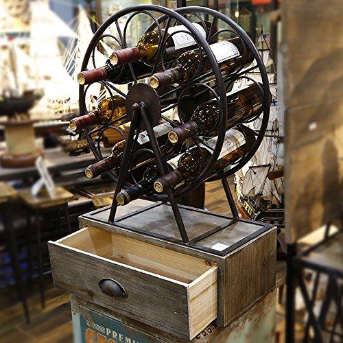 Industrial Rustic Metal Wood Wine Rack Countertop Wine Rack Free Standing wine Rack Cork Holder by Diwhy
