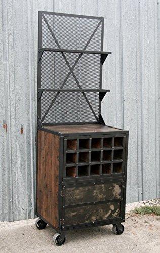 Mid century modern liquor cabinet Vintage industrial wine rack Reclaimed wood