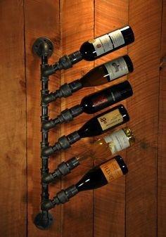 Rustic Industrial steampunk 6 Bottle Wine rack Brand new