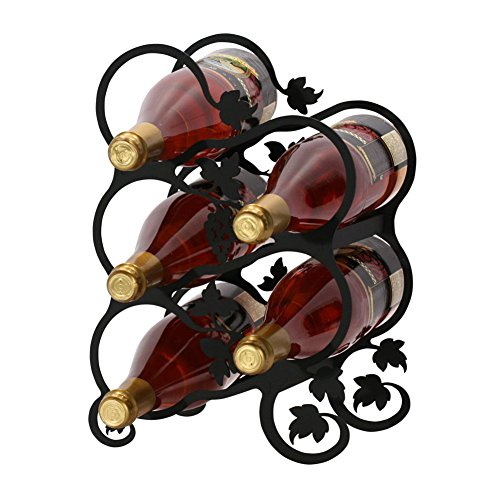 Iron Grapevine Leaf Wine Rack 5 Bottle - Heavy Duty Metal Wine Holder Wine Bottle Holder