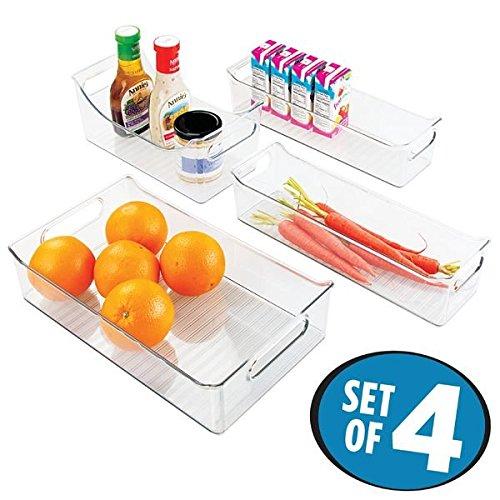 mDesign Kitchen Pantry Refrigerator Freezer Storage Organizer Bins - Set of 4 Clear