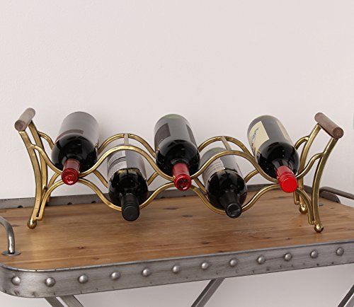 Kate and Laurel Jemima Countertop Metal Wine Rack Holds 5 Wine Bottles With Wood Handles Gold