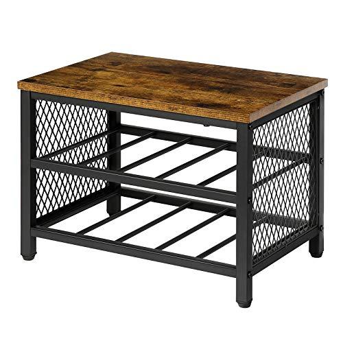 HOOBRO Tabletop Wine Rack 3-Tier 10-Bottle Storage Display Shelf Wood Look Accent Furniture with Metal Frame Rustic Brown