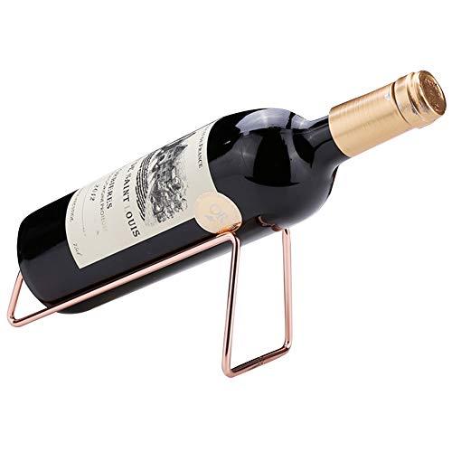 Ibnotuiy Set of 2 Metal Tabletop Single Bottle Wine Rack Minimalist Wine Holder Gold