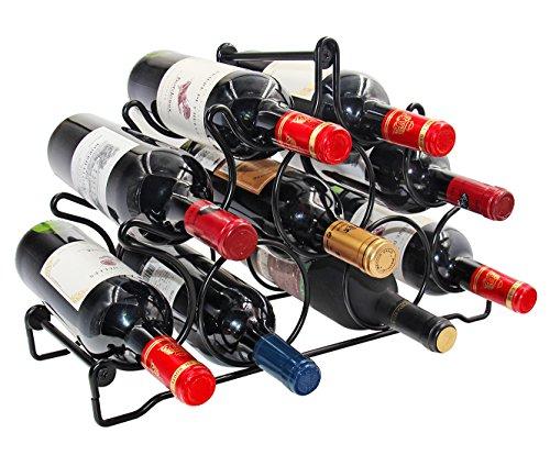 PAG 9 Bottles Free Standing Countertop Metal Wine Rack Tabletop Wine Storage Holders Stands Black