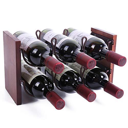 WILLOWDALE Countertop Wine Rack Tabletop Wine Bottle Holder Bottle Rack for Table Cabinet Storage 2 Tiers Hold 6 Bottles Wood Metal Bronze