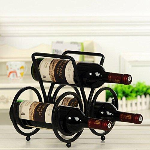 LOHOMEÂ Wine Rack Black 3 Bottle Tabletop Wine Rack Display Organizer Holder Stand Display Rack Free Standing Rack Table Top Modern Art 3 Bottles Holder