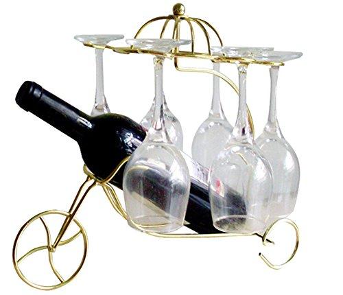 MATE Stainless Steel Wine Bottle Holder Novelty Wine Holder Chariot Wine Rack Tabletop Wine Holders Stands Gold