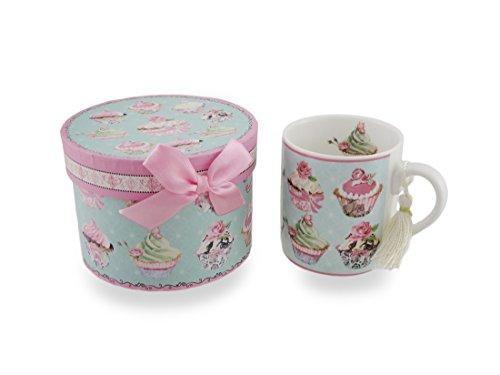 Ceramic Victorian Cupcake TeaCoffe Mug wDecorative StorageGift Box