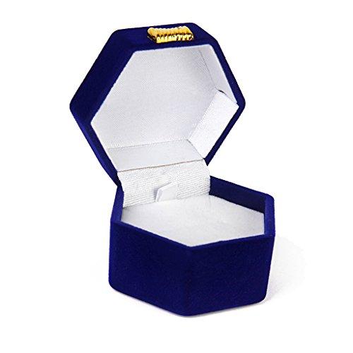 Hexagon Shape Ring Earring Jewelry Storage Gift Box Holder Organizer Case Royal Blue