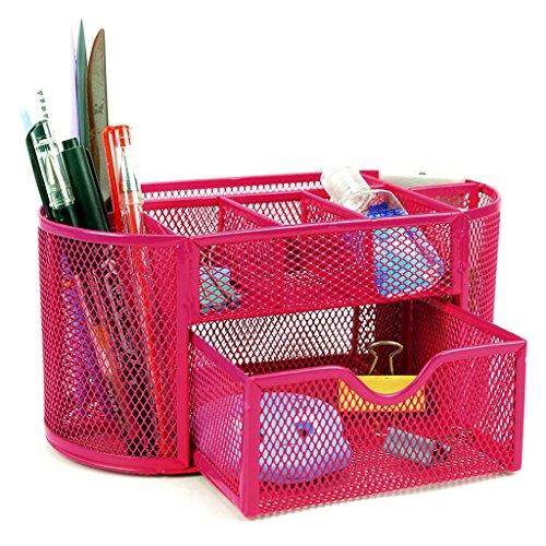 BTSKY Mesh Desk Organizer --OfficeHomeSchool Desktop Caddy Pencil Holder with 9 Compartments Pink