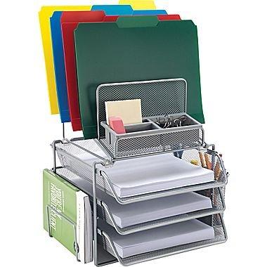 Staples All-in-One Silver Wire Mesh Desk Organizer 27642
