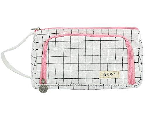 iSuperb Large Capacity Pen Bag Pencil Case Zippered Stationery Pouch Bag Cotton Linen Travel Makeup Bag 85x43x31inch Grid