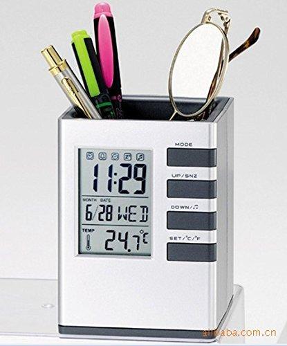 BIZ4U Multifunctional Pen Holder Pencil Container Digital LED Desk Clock Mesh with Calendar Timer Alarm Clock Thermometer