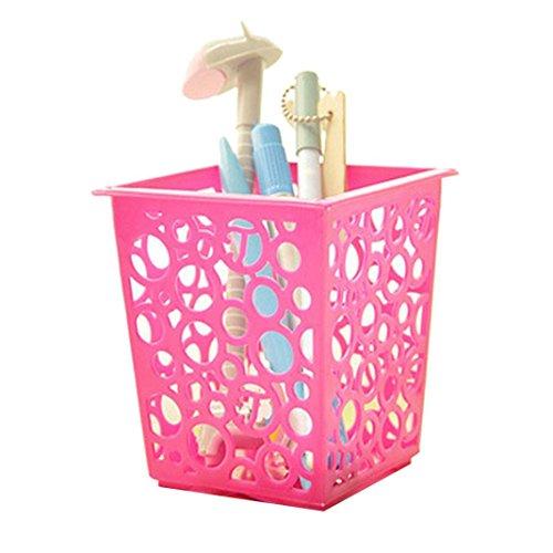 OksaleMakeup Brush Vase Pencil Container Pot Pen Holder Stationery Storage Organizer Hot Pink
