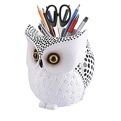 Owl Pen HolderLYASI Owl Pen Pencil Container Carving Brush Pot Brush Holder Desk Organizer DecorationLuxury Gift and Exquisite Handicraft