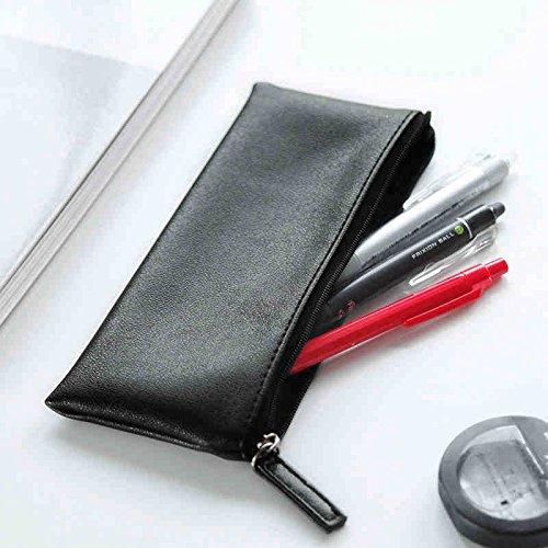 ASAPS Black PU Leather Pencil Case Pouch Bag with Zipper