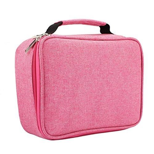Soucolor Colored Pencil Case Holder Multifunction Pencil Zipper Pouch Pen Bag Kids Students Pencil Pen Box 72 Slot Pink